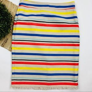 J. Crew Multi Colored Frayed Hem Pencil Skirt 12